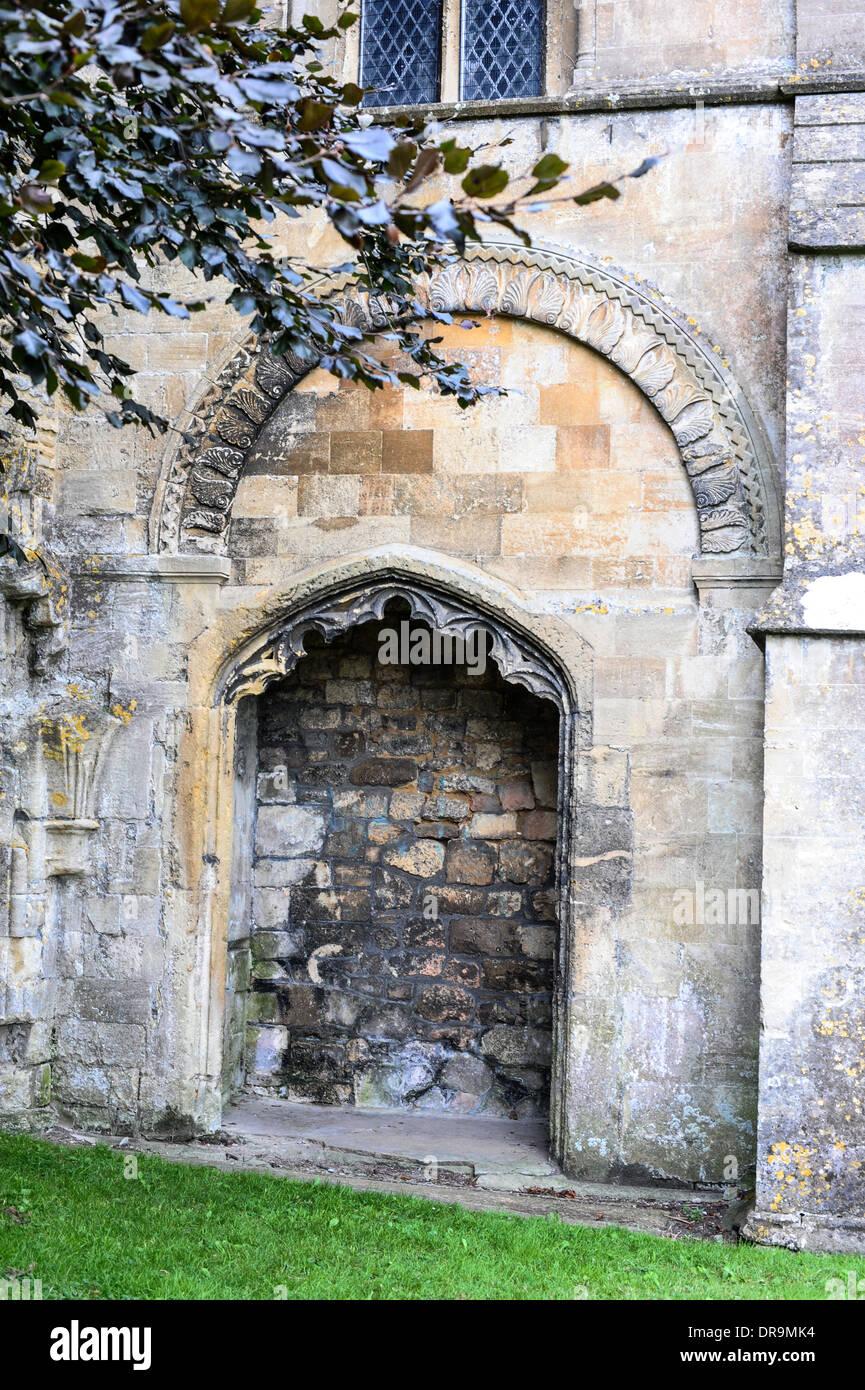 Eine Besonderheit von Malmesbury Abbey, UK. Stockfoto