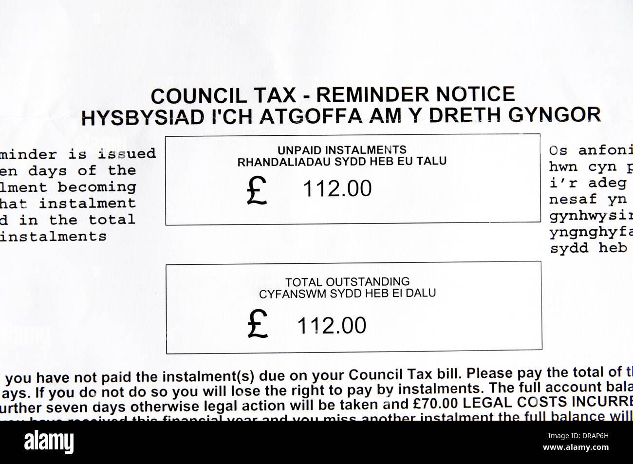Des Rates Steuer Nachfrage Brief In Englisch Und Walisisch Stockfoto