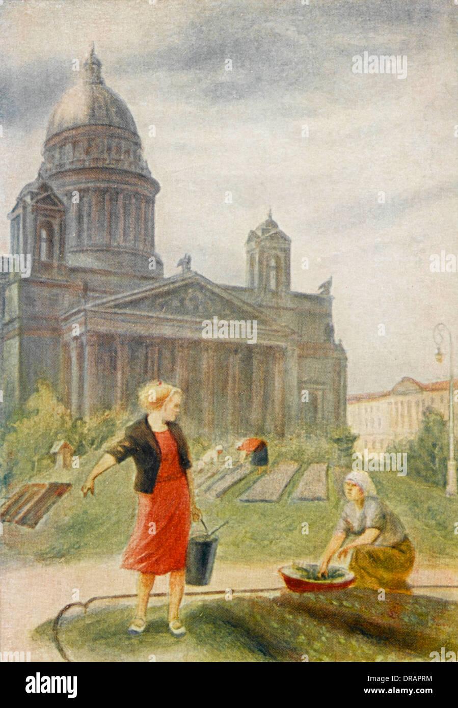 Leningrader Bürger in Gärtnereien Stockbild
