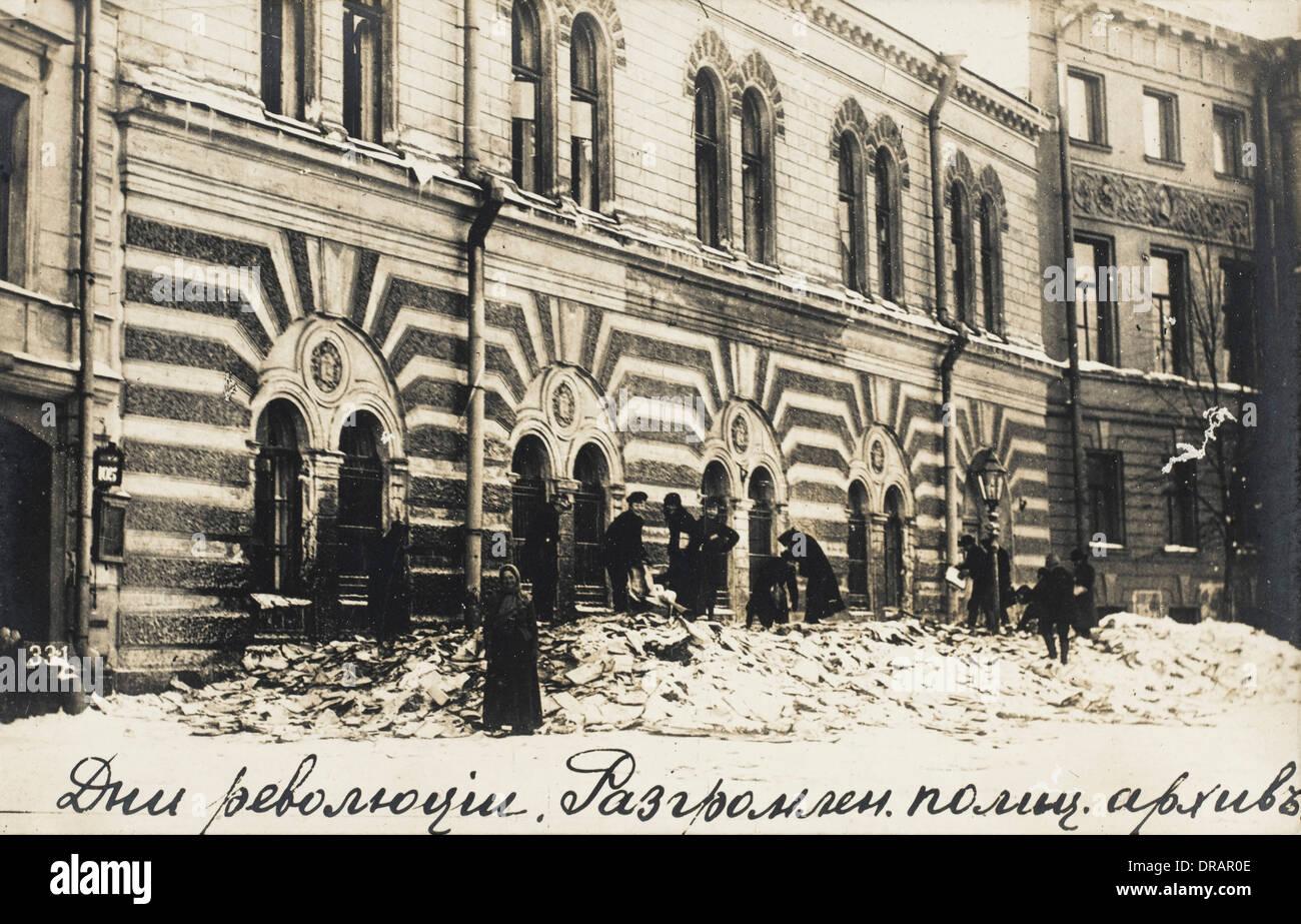 Archiv zerstört während der russischen Revolution Stockbild