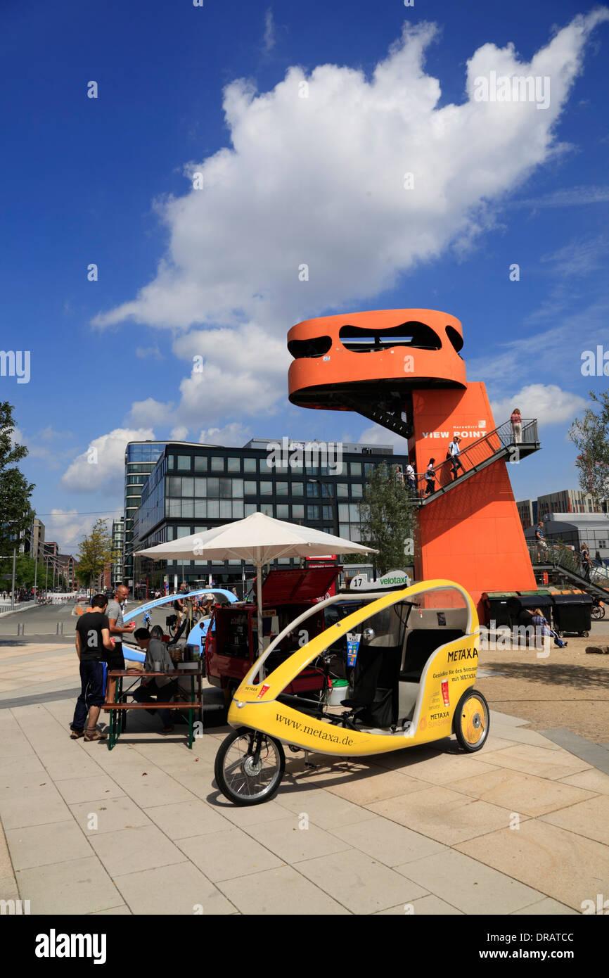 Aussichtspunkt bei gröberen Grasbrook, Fahrradrikschas, Hafencity, Hamburg, Deutschland, Europa Stockbild