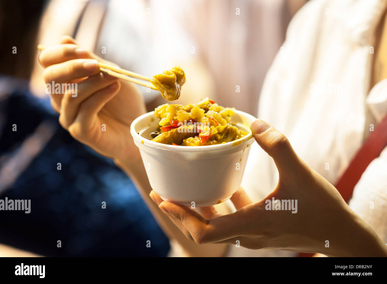 Curry Organe in einen Topf, Hongkong Street food Stockbild