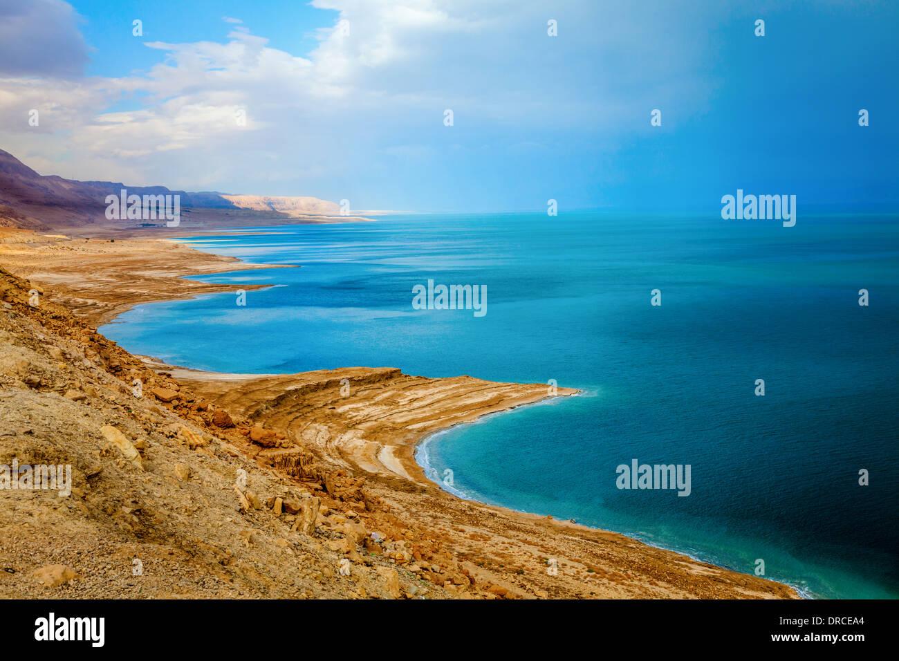 Toten Meer in Israel bei Sturm Stockbild