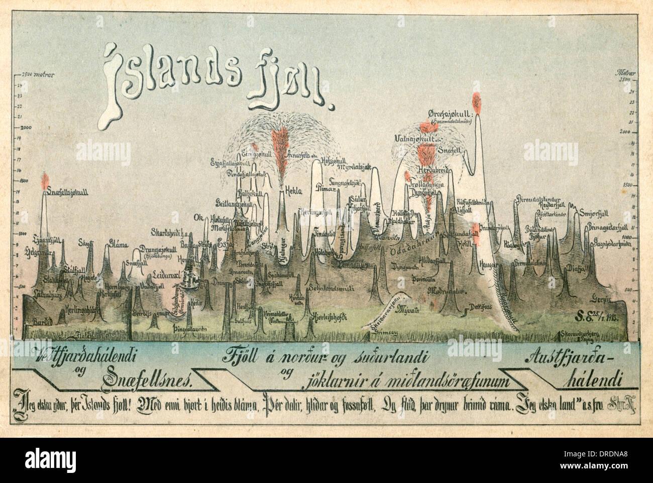 Die Geographie von Island Stockbild