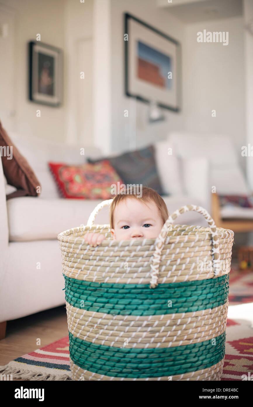 Baby-Sitter in Korb Stockbild
