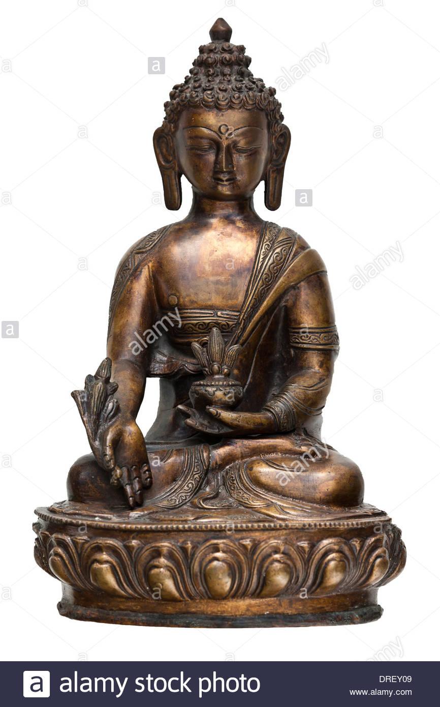 Antike Bronzeguss indisch-hinduistischen Lotus-Sitz sitzende Meditation Statue Buddha Bhumisparsa Mudra Erde Zeuge Haltung Ausschnitt Stockbild