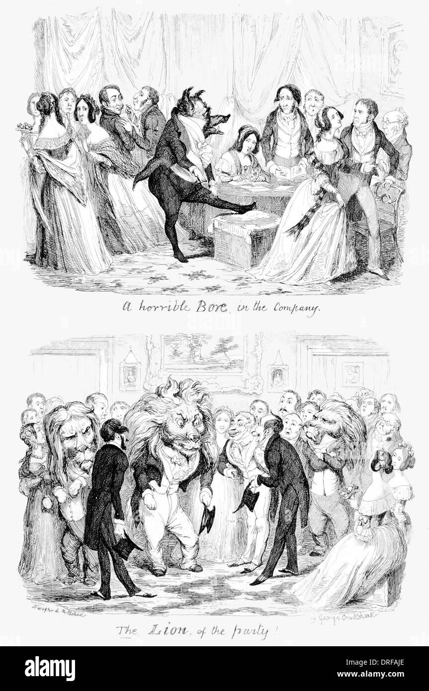 George Cruikshank eine schreckliche trug in der Gesellschaft. Der Löwe der Partei erstmals veröffentlicht 1845 Stahlstich Stockbild