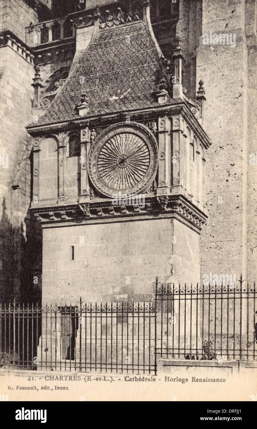 Renaissance Uhr an Chartres Kathedrale, Frankreich Stockbild