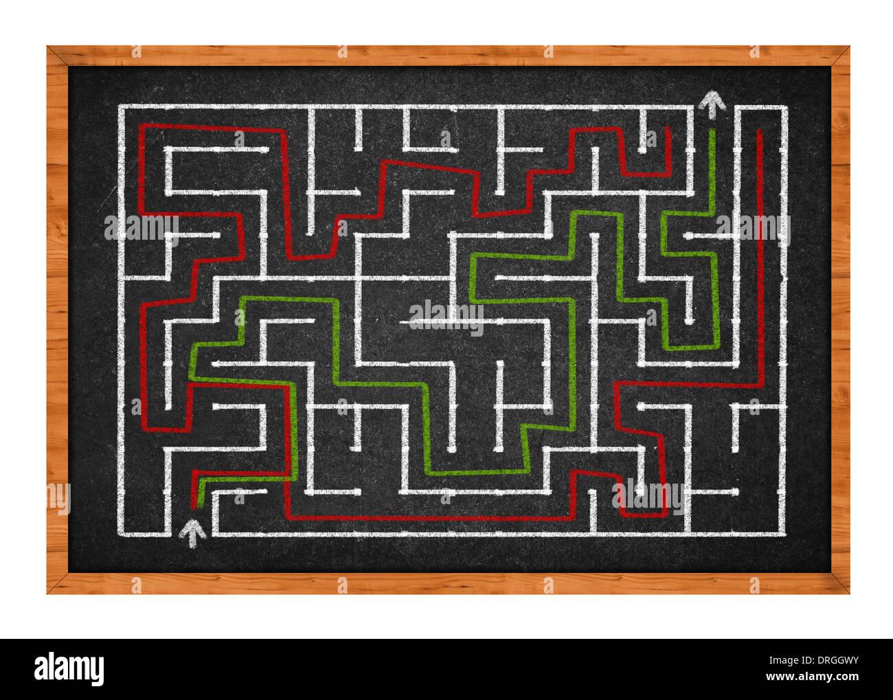 Hand gezeichnet Labyrinth auf einer Tafel Klassenzimmer Stockbild