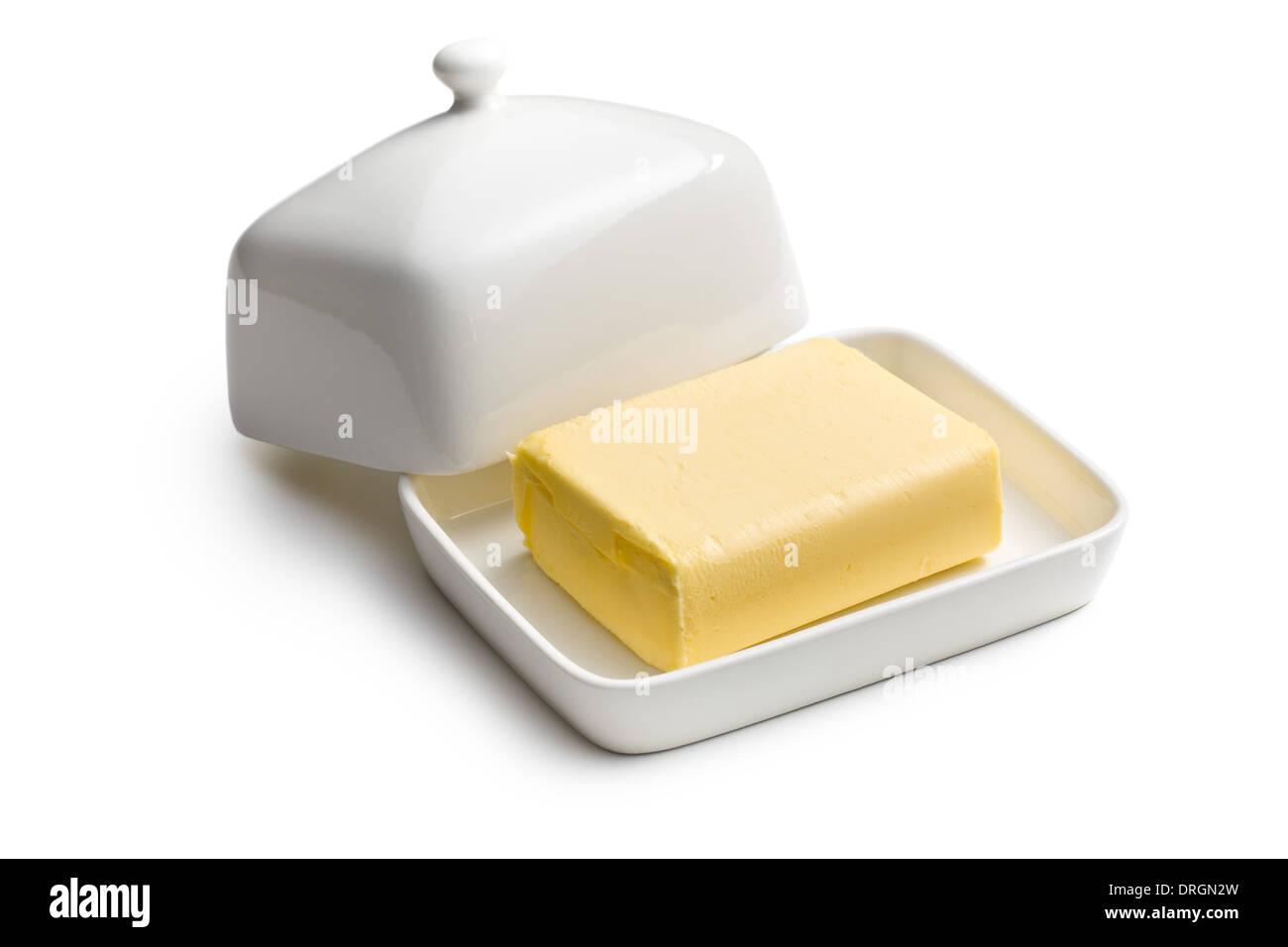 Würfel Butter in Keramik Glas Stockbild