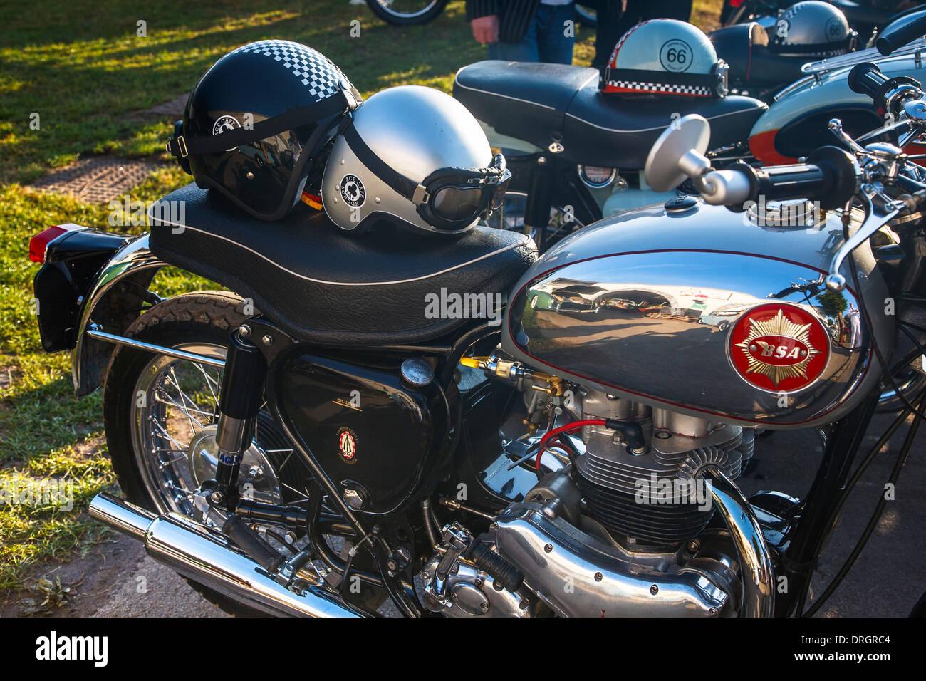 BSA Oldtimer Motorräder am Goodwood Revival 2013, West Sussex, Großbritannien Stockbild