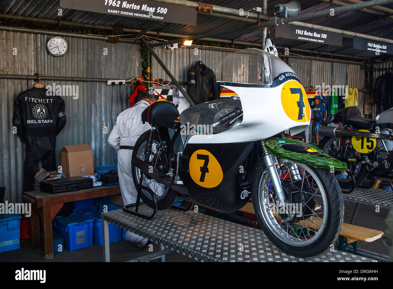 1962 Norton Manx 500 Motorrad bei dem Goodwood Revival 2013, West Sussex, UK Stockbild