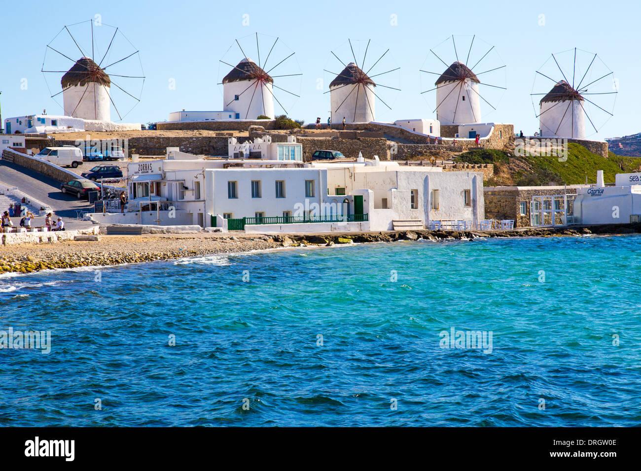 Windmühlen in Mykonos Griechenland Cyclades Stockbild