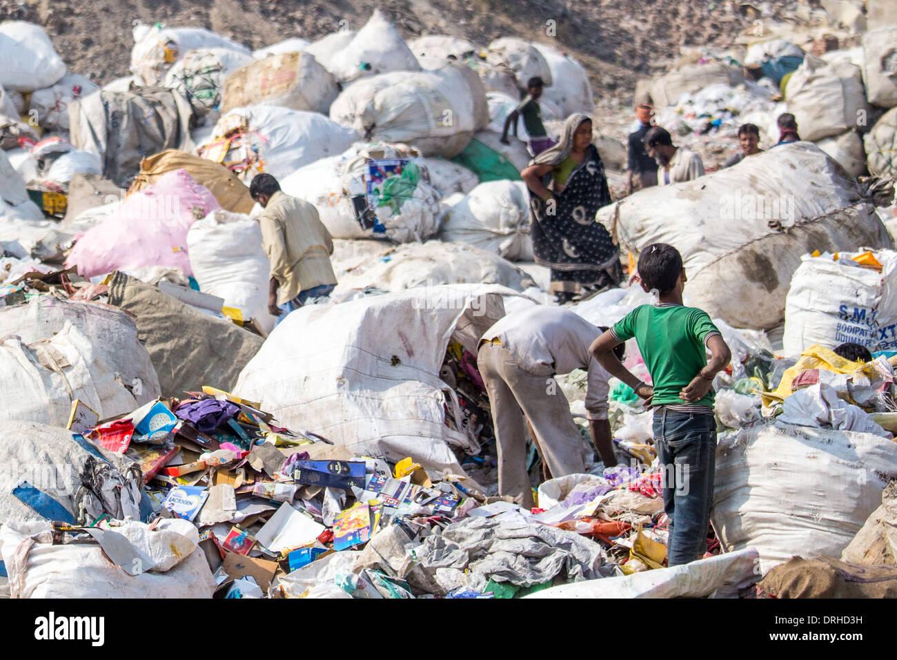 Pflücker auf einer Mülldeponie in Delhi, Indien Stockbild