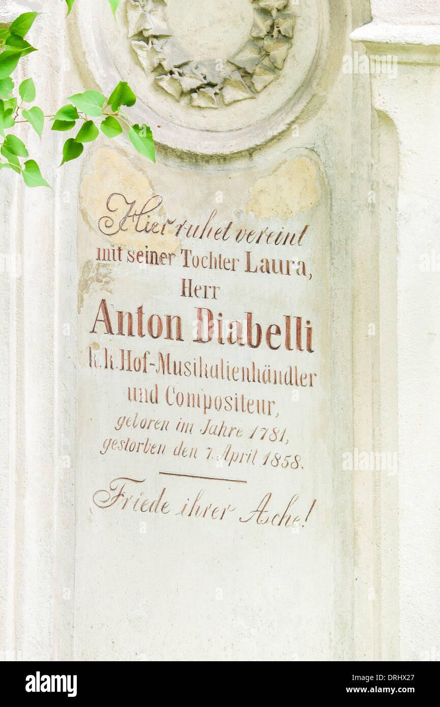 Grabstätte des österreichischen Komponisten, Noten Herausgeber und Redakteur Anton Diabelli, Friedhof Stockbild