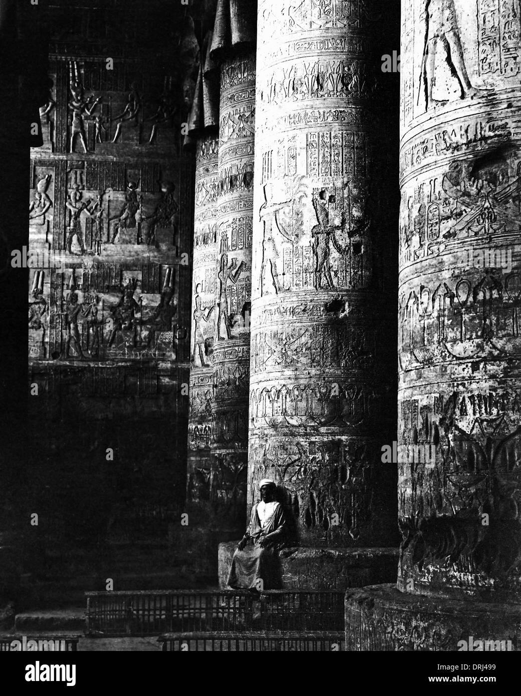 Geschnitzte Säulen am Karnak, Ägypten Stockfoto