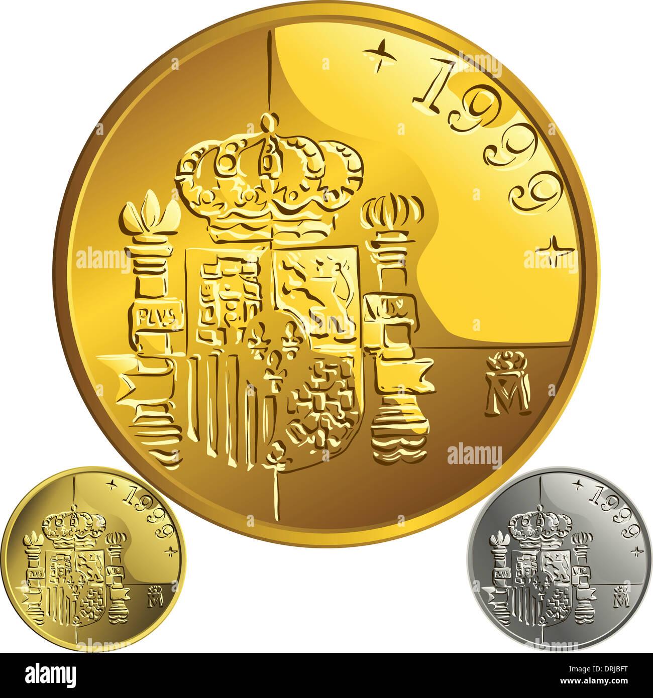 Spanische Geld Peseta Gold Und Silber Münze Mit Dem Spanischen