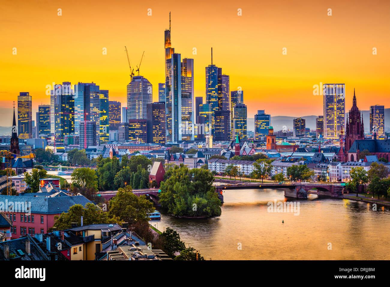 Skyline von Frankfurt am Main, Deutschland. Stockfoto