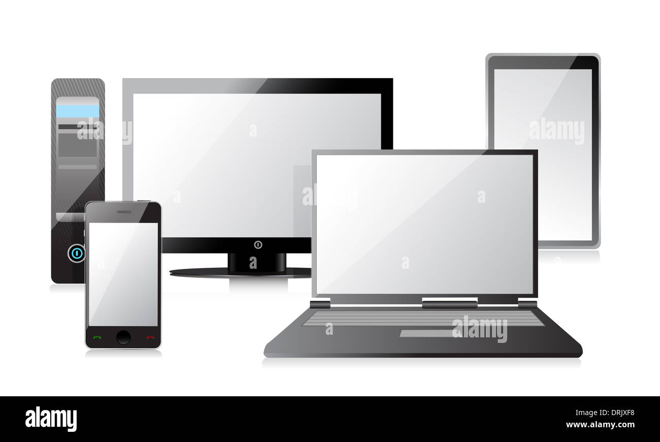 computer laptop tablet und smartphone illustration design in wei stockfoto bild 66184140. Black Bedroom Furniture Sets. Home Design Ideas