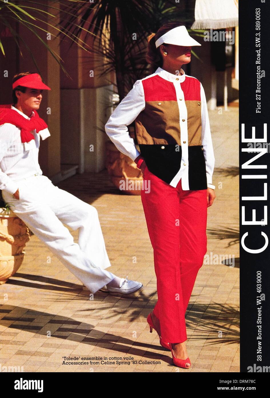 2940ff42ce146 1980er Jahre Mode Magazin Werbung Werbung Herren- und Damenmode Kleidung  von CELINE in London, Anzeige ca. 1983