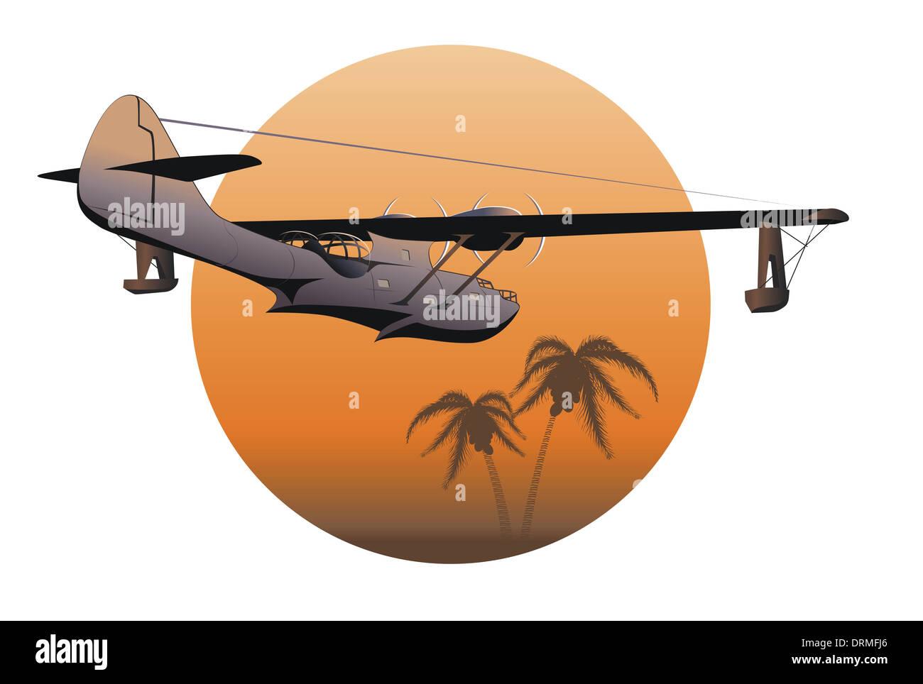 Retro-Wasserflugzeug Stockbild