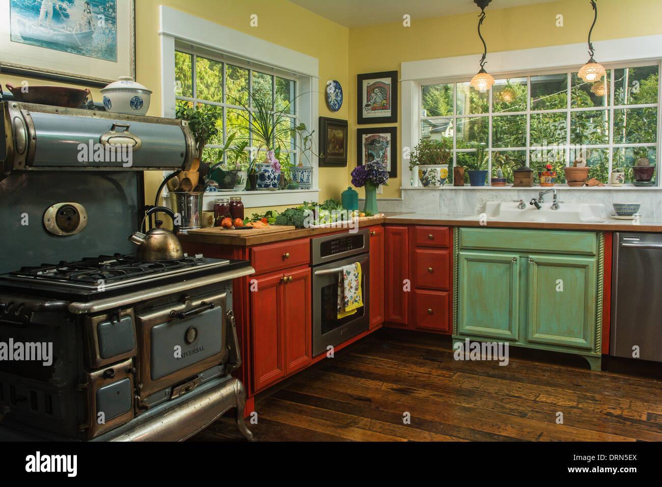 Foto aus einer Küche, Astoria, Oregon, USA Stockbild