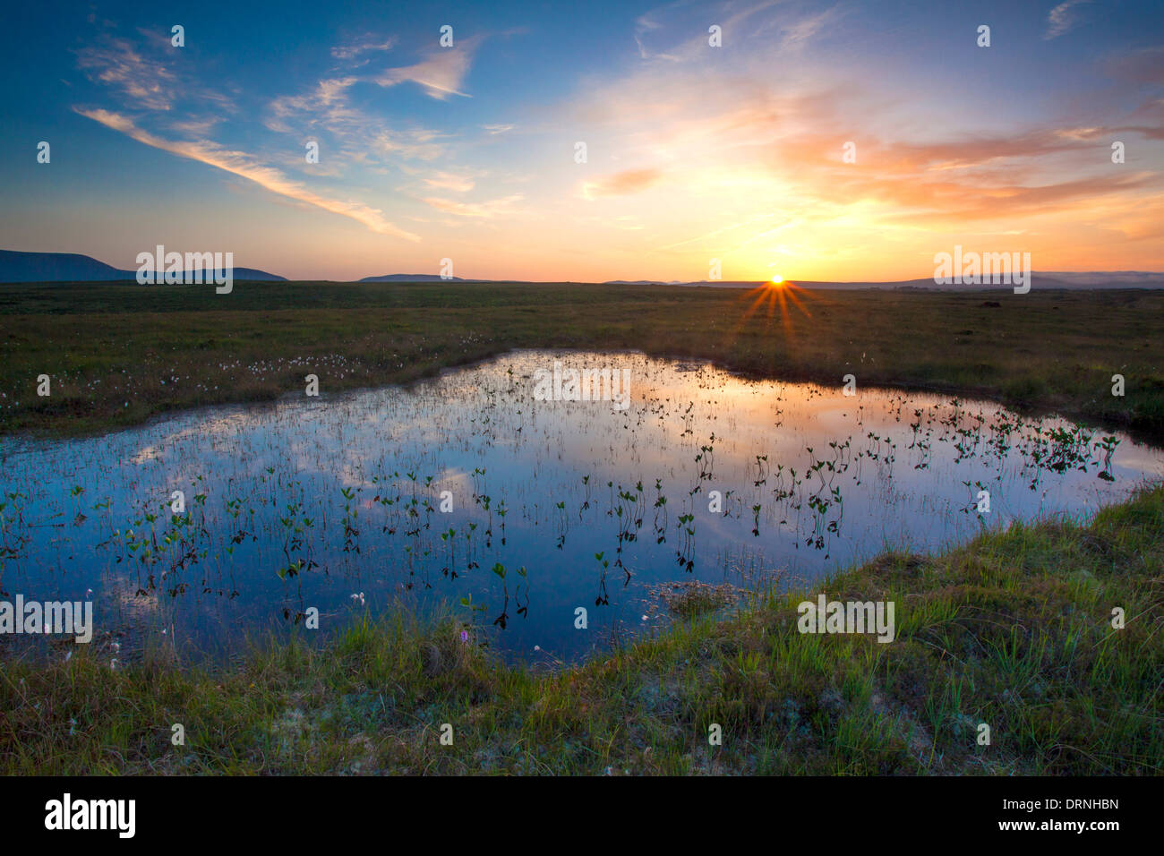 Moor-Pool Sonnenuntergang unter den Nephin Beg Bergen, Ballycroy National Park, County Mayo, Irland. Stockbild