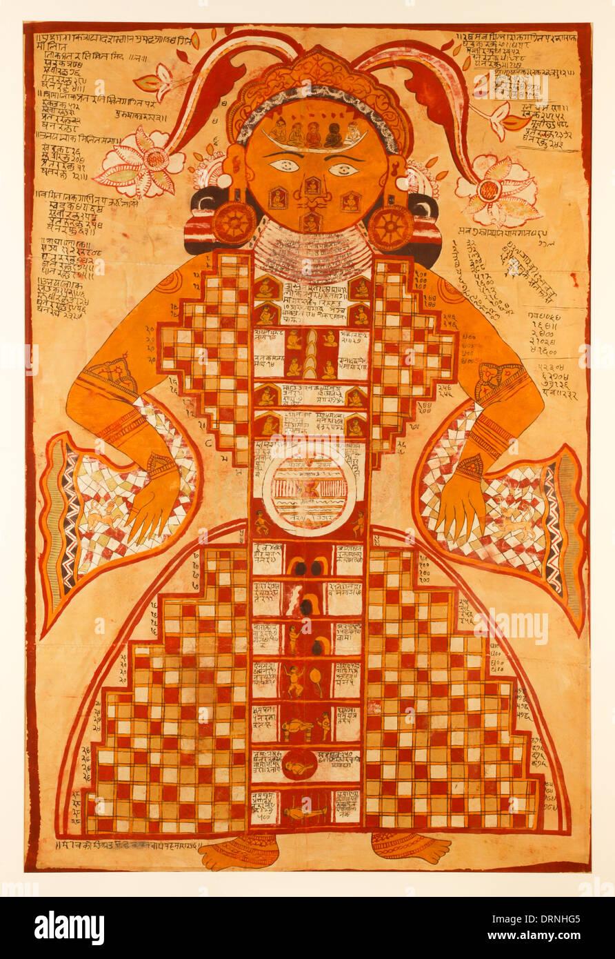 Jain Purushkara Yantra, kosmische Abbildung Gouache auf Seide aus Rajasthan Indien circa 1780 zeigt Jambudvipa, Stockfoto