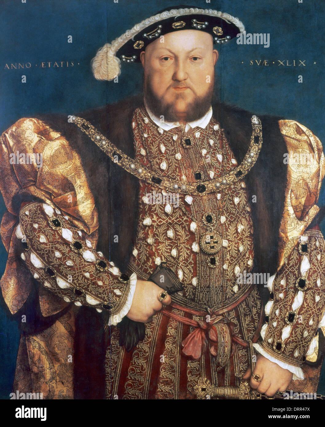 Heinrich VIII. (1491-1547). König von England von 1509-1547. Porträt von Hans Holbein dem jüngeren (1497-1543). Stockfoto