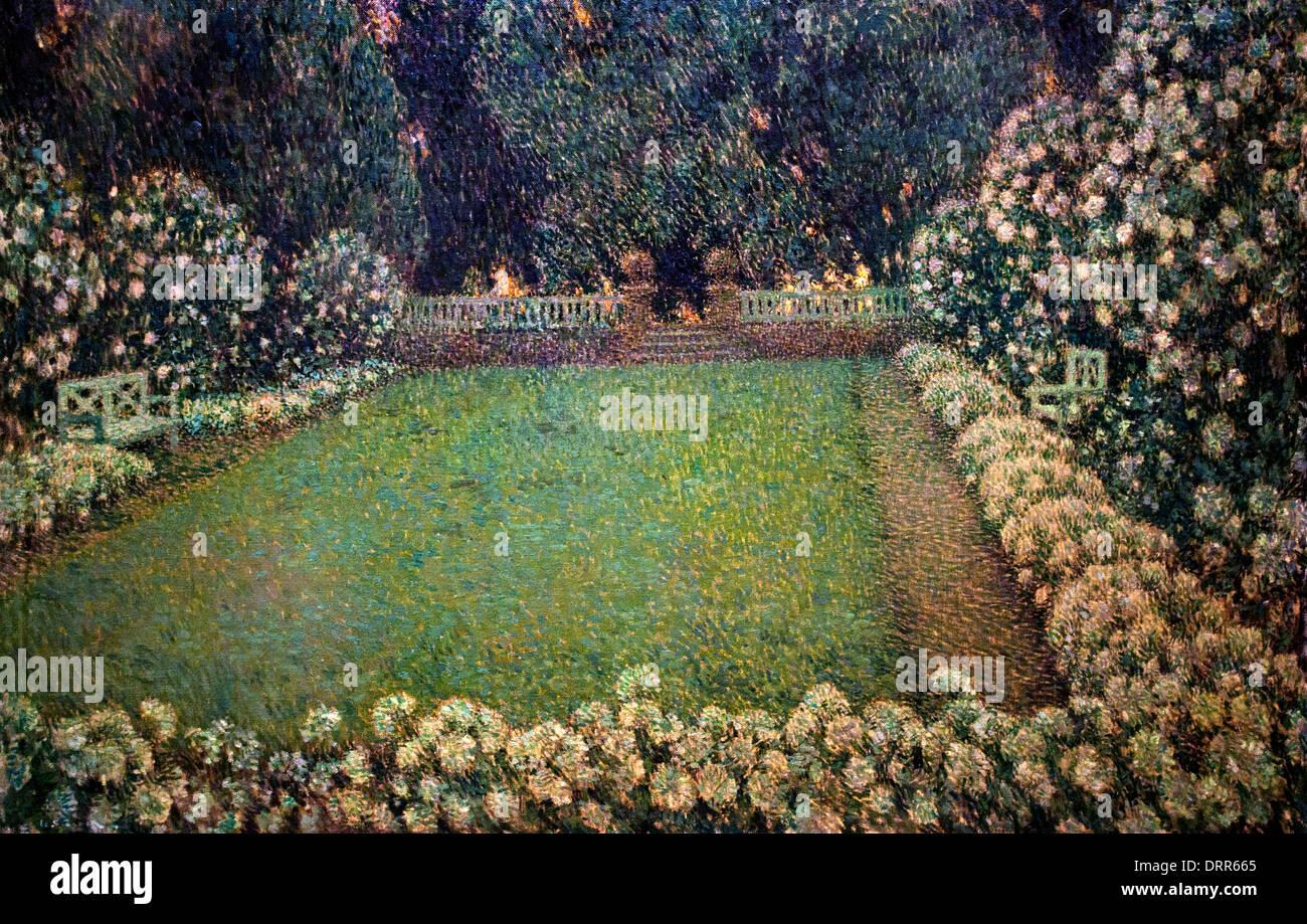 Der weiße Garten bei Twilight 1913 Henri Le Sidaner 1862-1939 Frankreich Französisch Stockbild