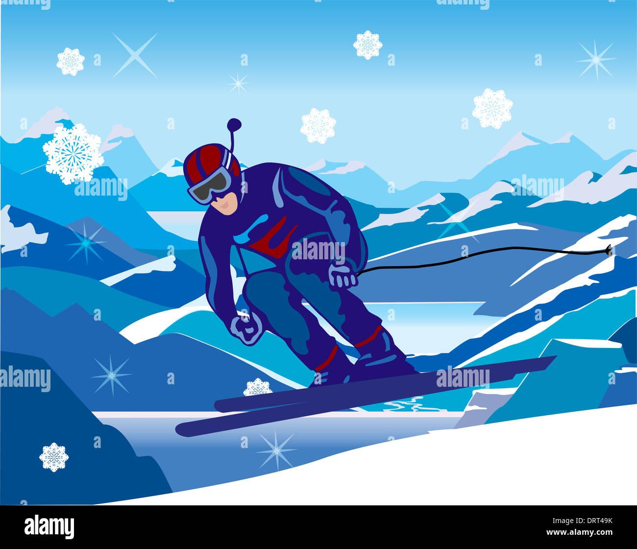 Skifahrer, die schräg nach unten vom Berg Stockbild