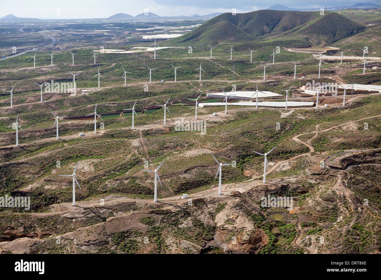 Aerial View of Wind Kraftwerk, Tenerife, Spanien Stockbild