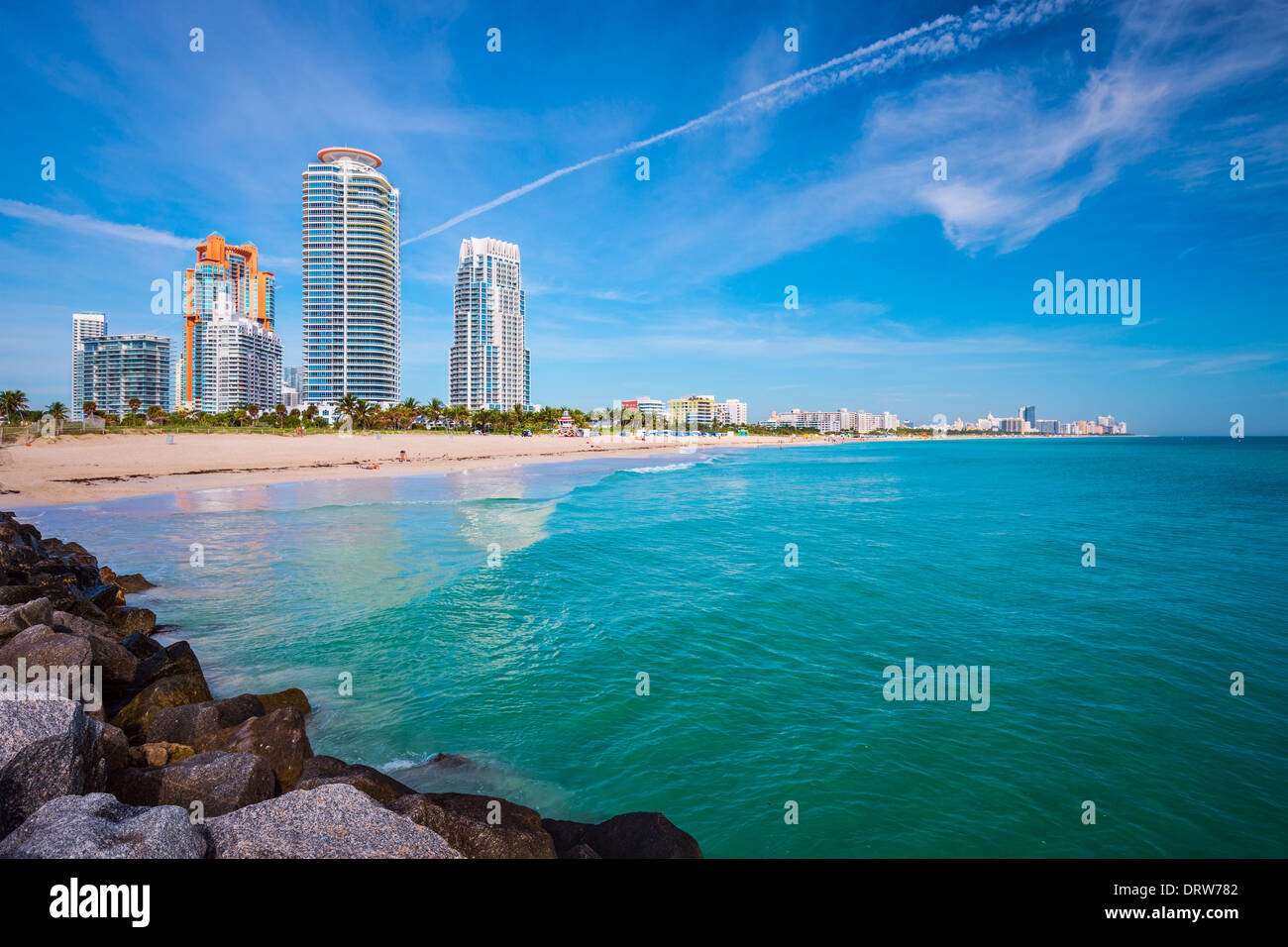 Miami, Florida am Südstrand. Stockbild