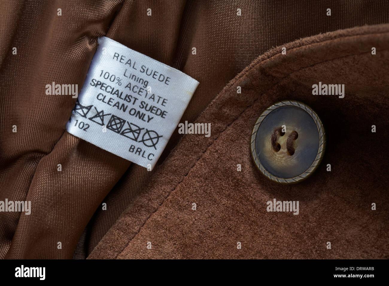 Echtes Wildleder-Label in Jacke Stockbild