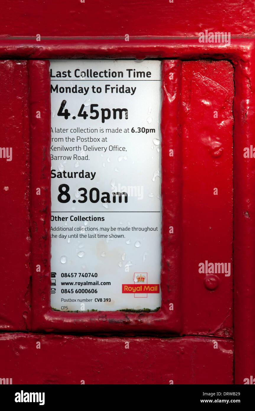 Post Box Sammlungen Platte, UK Stockbild