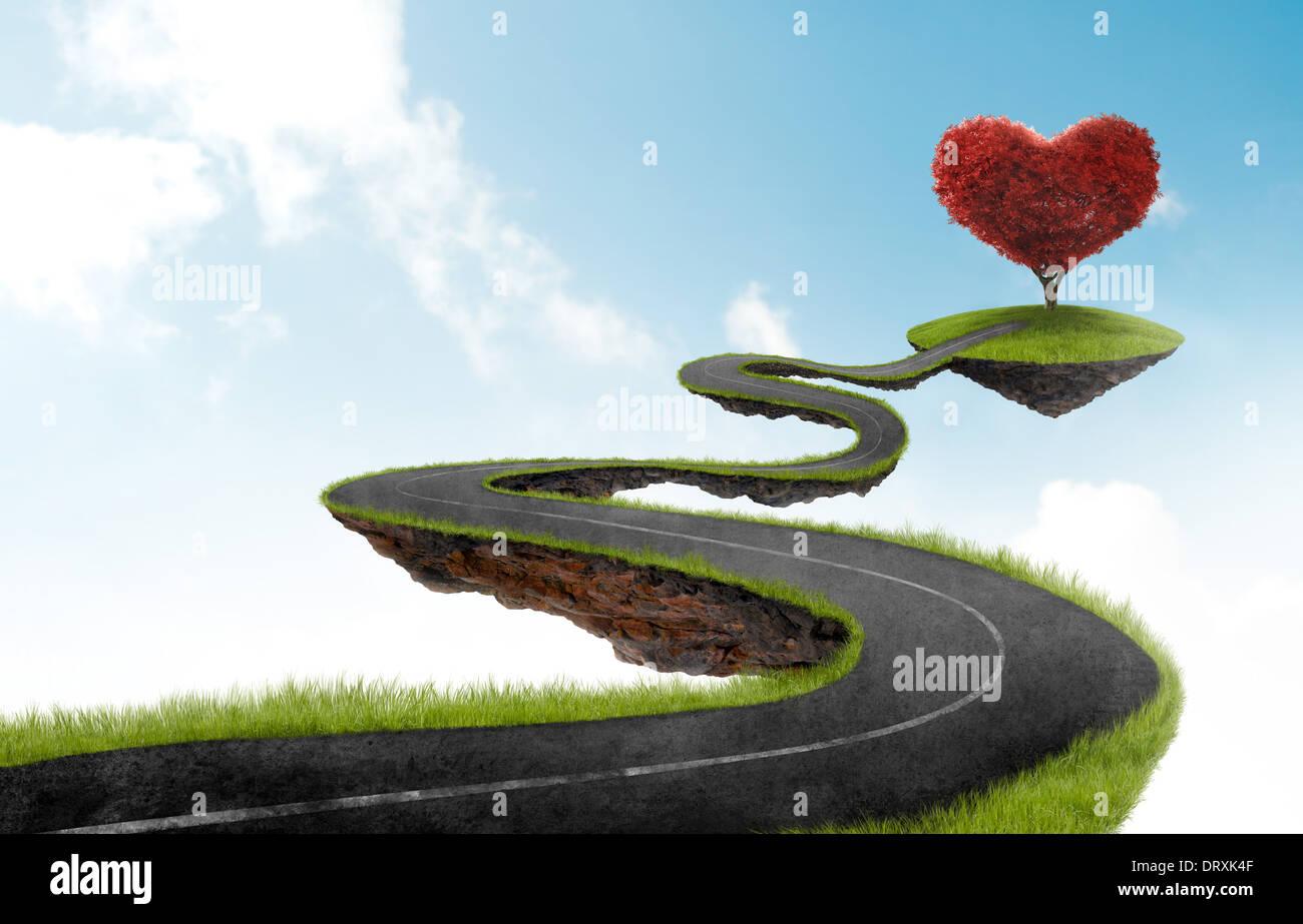 Straße in den Himmel in Richtung der Baum in der Form von Herzen schweben Stockbild