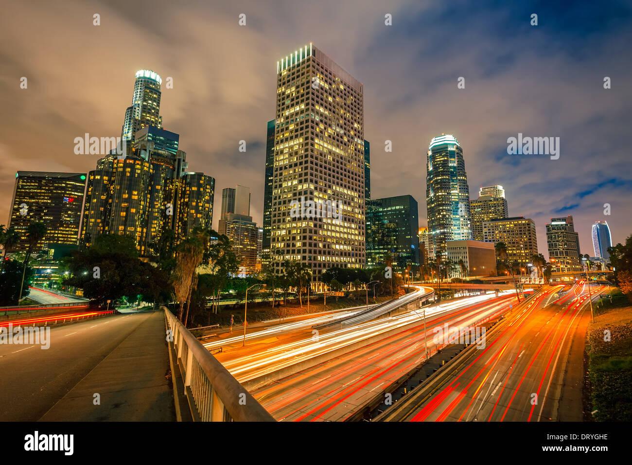 Los Angeles bei Nacht Stockbild