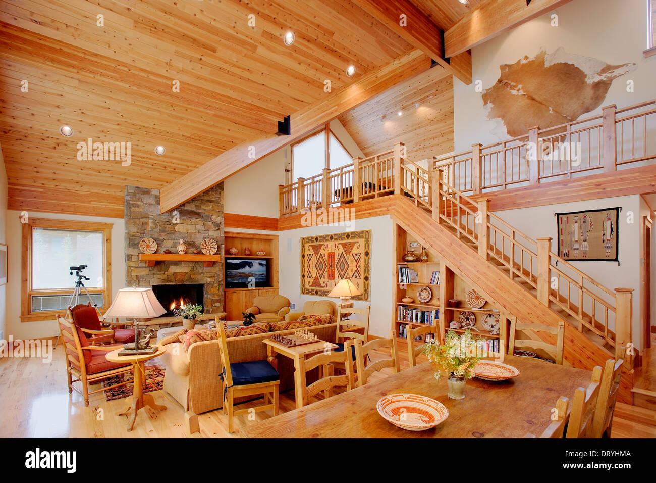 das innere eines modernen blockhaus darstellung luxus inmitten einer rustikalen einrichtung. Black Bedroom Furniture Sets. Home Design Ideas