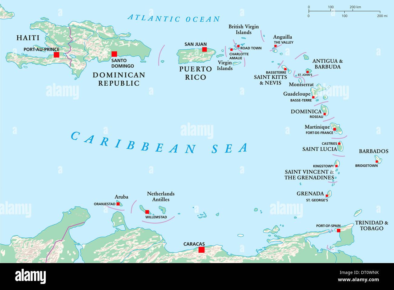 Kleine Antillen Karte.Politische Karte Der Kleinen Antillen Haiti Und