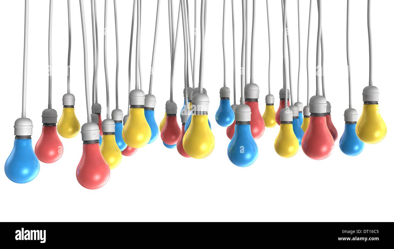 Eine Gruppe Von Regelmassigen Hangenden Lampen Befestigt Kabel In