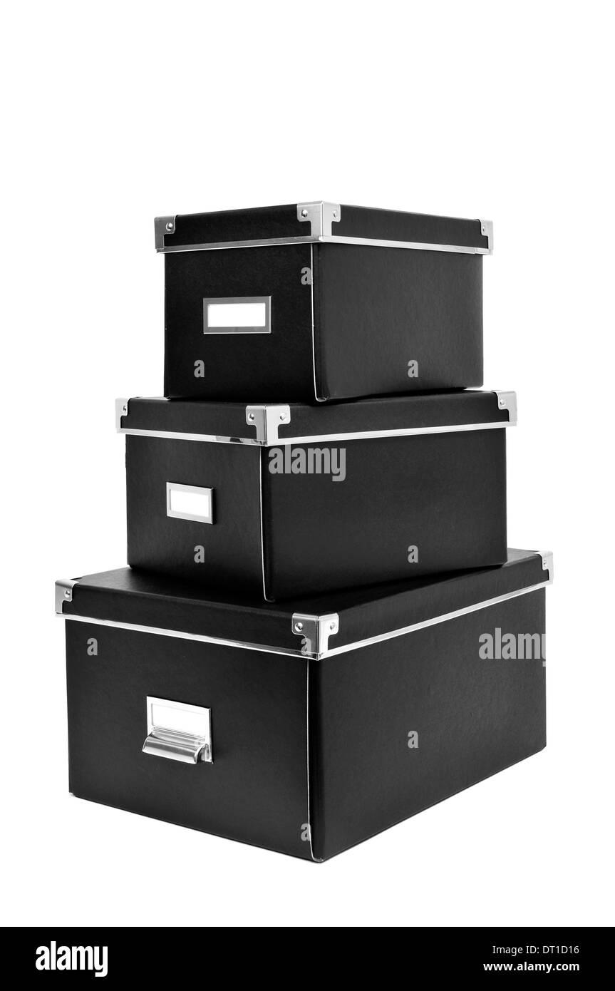 Ein Haufen Von Schwarzen Karton Aufbewahrungsboxen Mit Metall Index