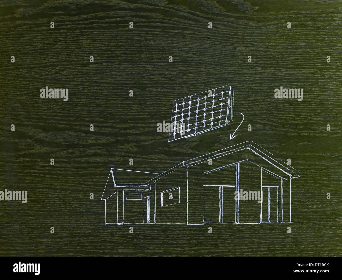 Eine Strichzeichnung Bild auf gemaserte Holz A Green-building-Projekt ein Haus mit Solarzellen für das Dach Stockbild