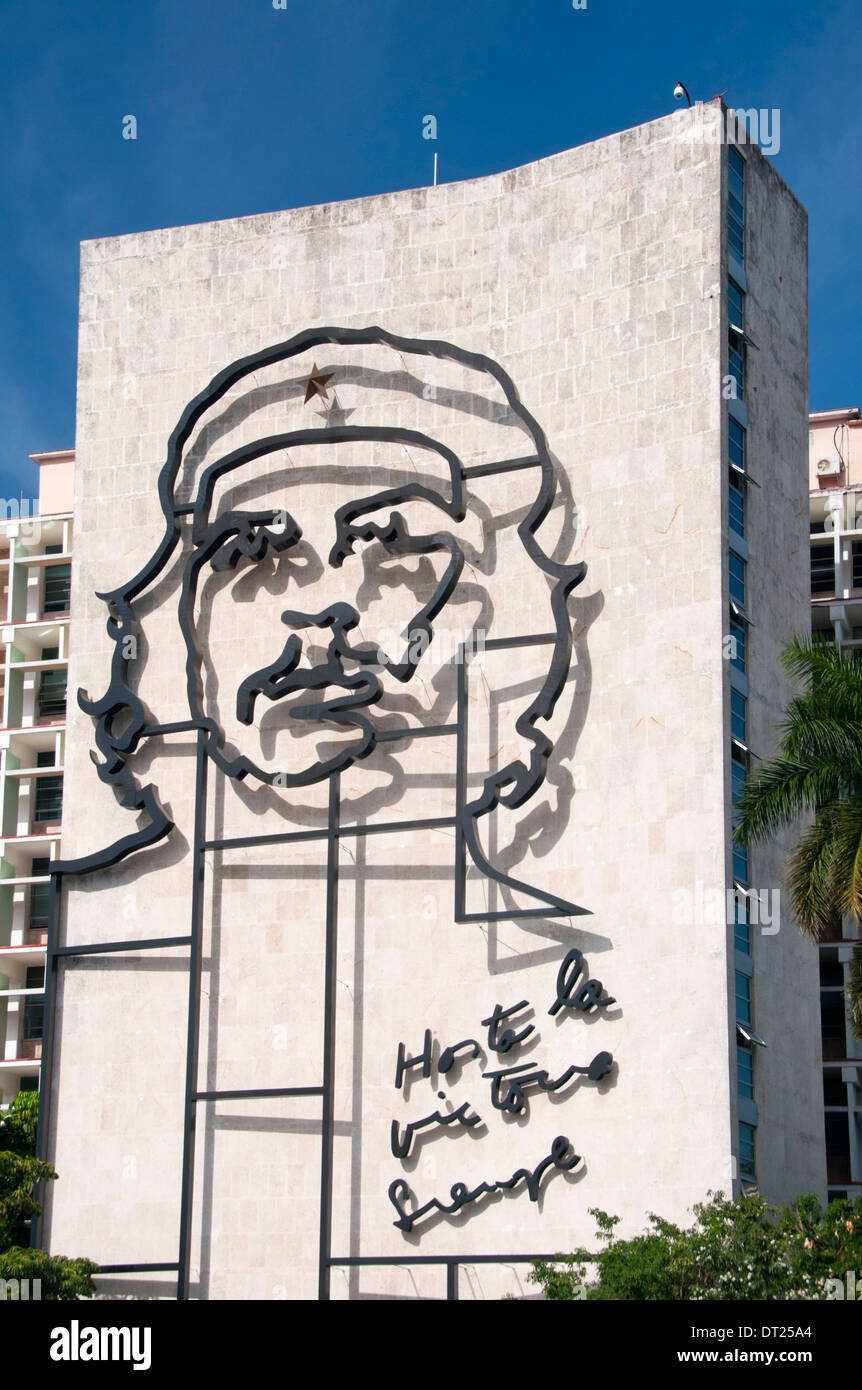 Che Guevara Gestaltungsarbeit auf Ministerio del interior Gebäude, Plaza de la Revolution, Havanna, Kuba, Karibik Stockbild