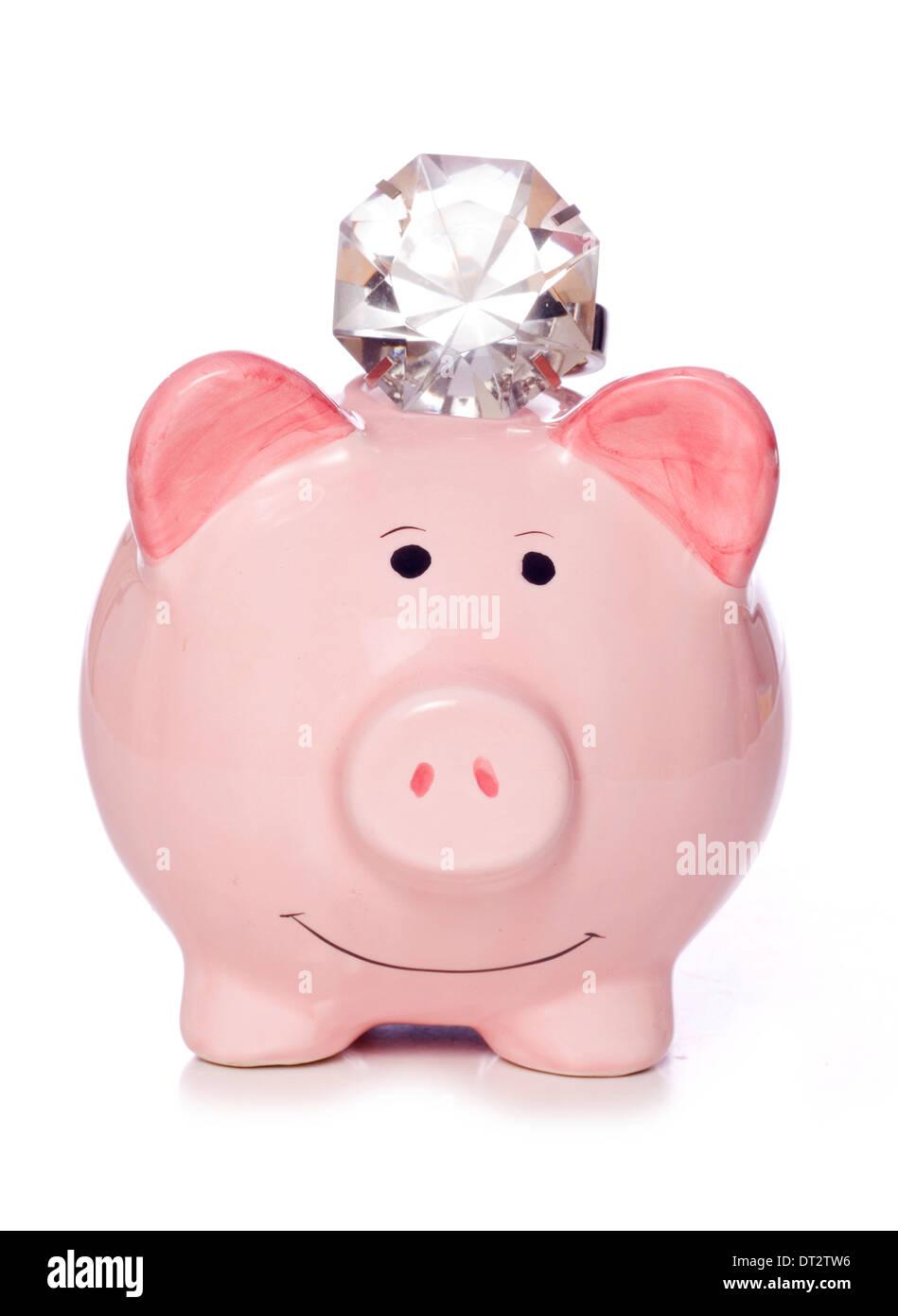 Wohlhabende Sparschwein mit Diamanten Ausschnitt speichern Stockbild
