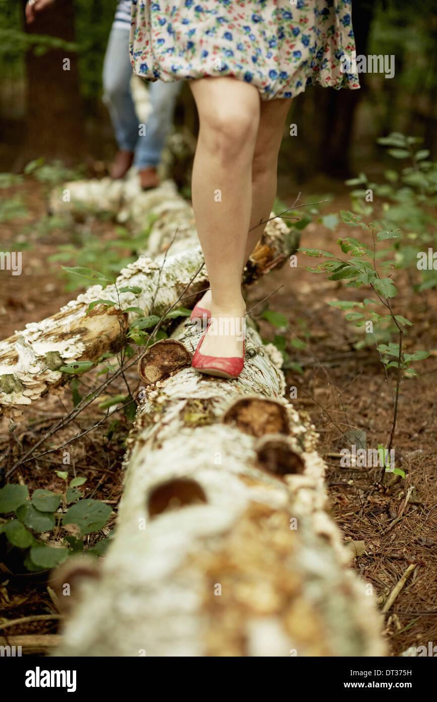 Zwei Menschen, die zu Fuß entlang einem gefallenen Baumstamm Stockbild