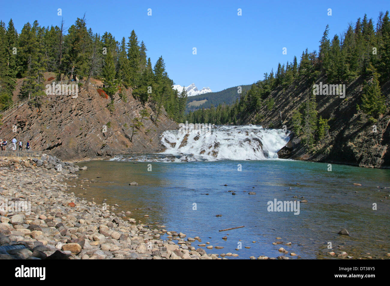 Bow River Falls und Bogen Brücke Banff, Canadian Rockies Stockbild