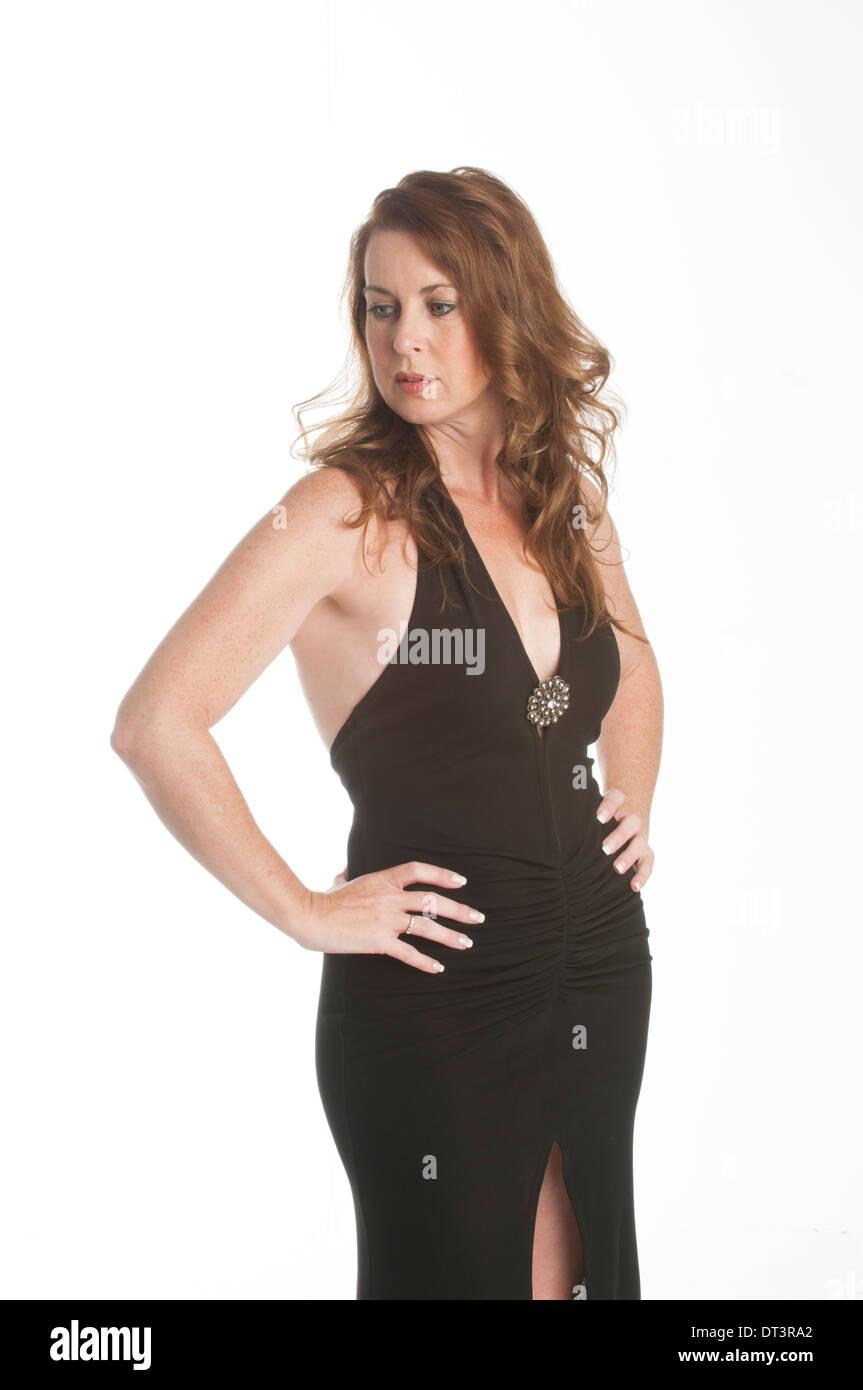 Mature Woman In Black Dress Stockfotos & Mature Woman In Black Dress ...