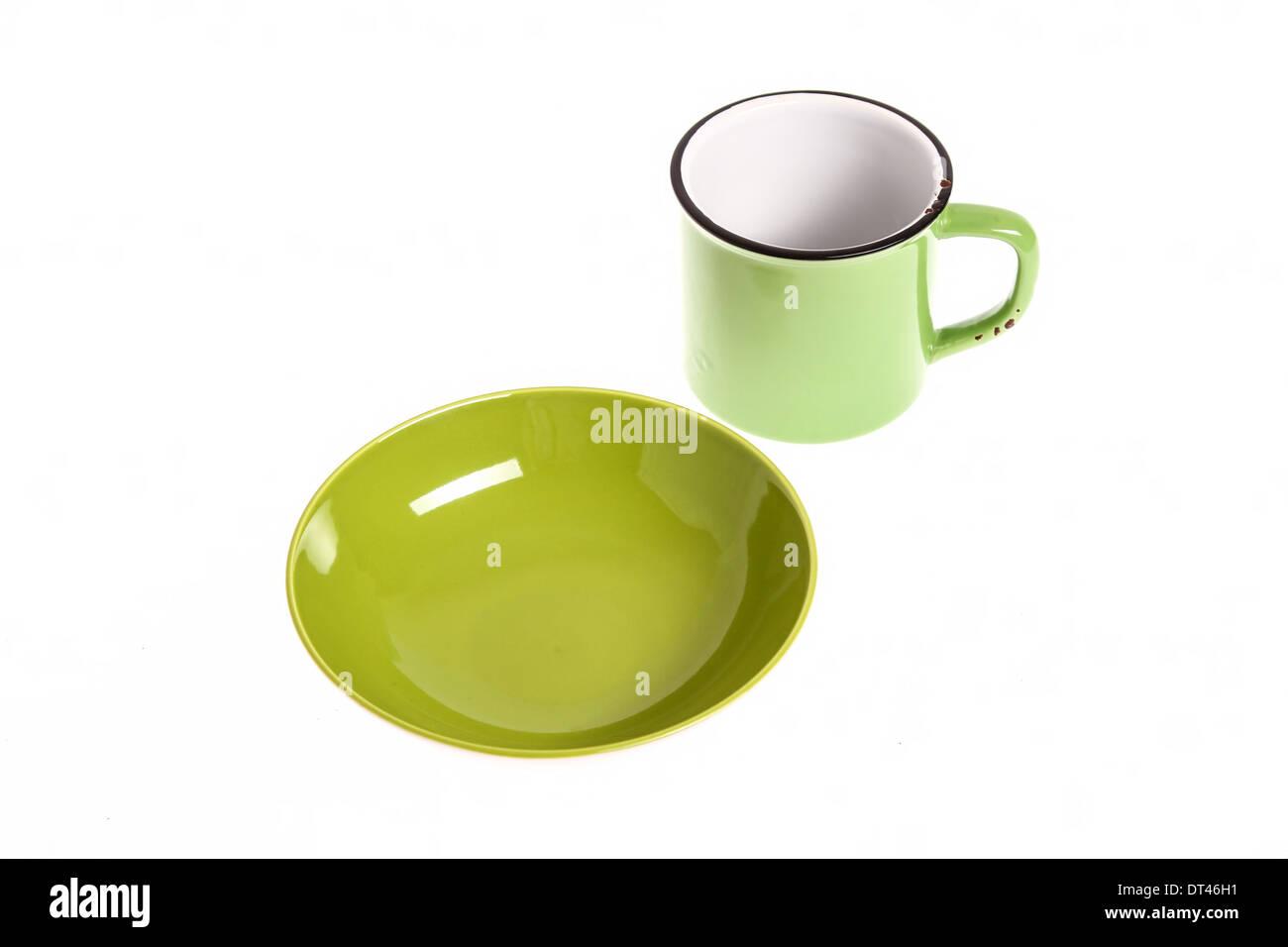 Eine Grune Kaputte Tasse Und Schale Leer Isoliert