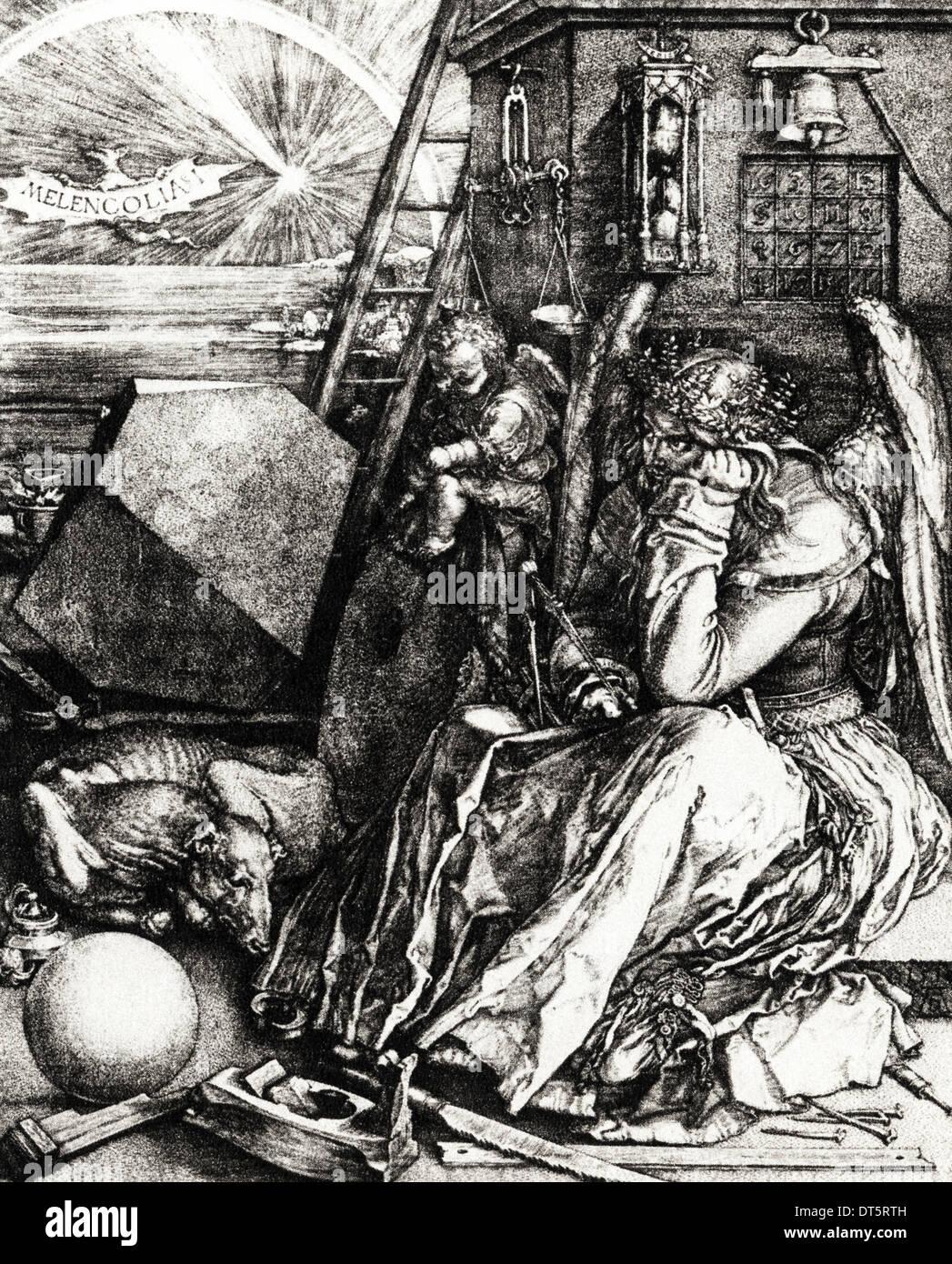 Melancolia ich Kupferstich von Albrecht Dürer ca. 1514 deutscher Künstler 1471-1528 Stockbild