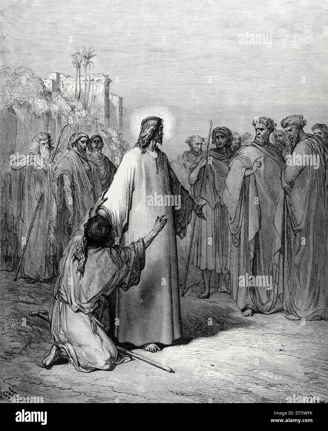 Neuen Testaments. Jesus heilt einen Dämonen besessen stumm. Evangelium des Matthäus, Kapitel IX, Vers 32-38. Zeichnung von Gustave Dore. Stockbild